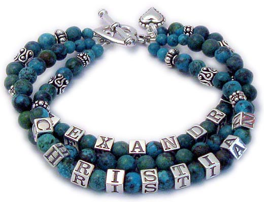 Turquiose and sterling silver mother bracelet with 3 names and 3 strings - dblgem8-turquoise