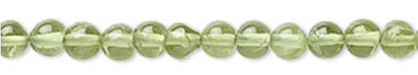 Bead, peridot (natural), 4mm round, B grade, Mohs hardness 6-1/2 to 7.