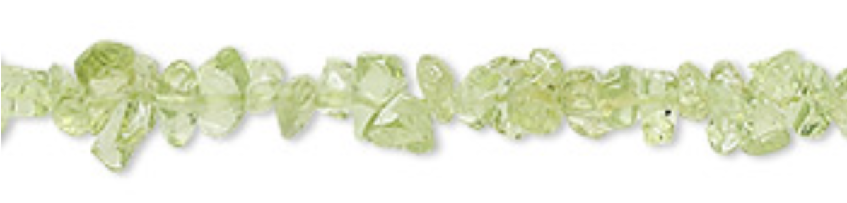 Bead, peridot (natural), mini chip, Mohs hardness 6-1/2 to 7.