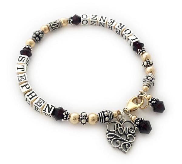 Stephen and Lorenzo bracelet with a Love Filigree charm and Birthstone Crystal Dangle Charms