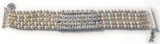 AUSTIN AVERILYNN ANNSLEIGH ADDISON ANGELLICA They added 2 charms to their bracelet order: MOM Filigree Charm and a Pryaing Boy Charm. This 5-string / 5 name bracelet is shown on a 5-string slide clasp.