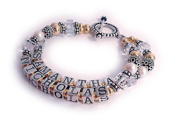 Enter: SAMANTHA/Apr NICHOLAS/Arp This bracelet is shown with a Beaded Toggle Clasp.