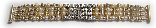 Enter: TINSLEY, TATUM, CADEN, JACKSON This bracelet is shown with a 4-string slide clasp in 14k gold-plate.