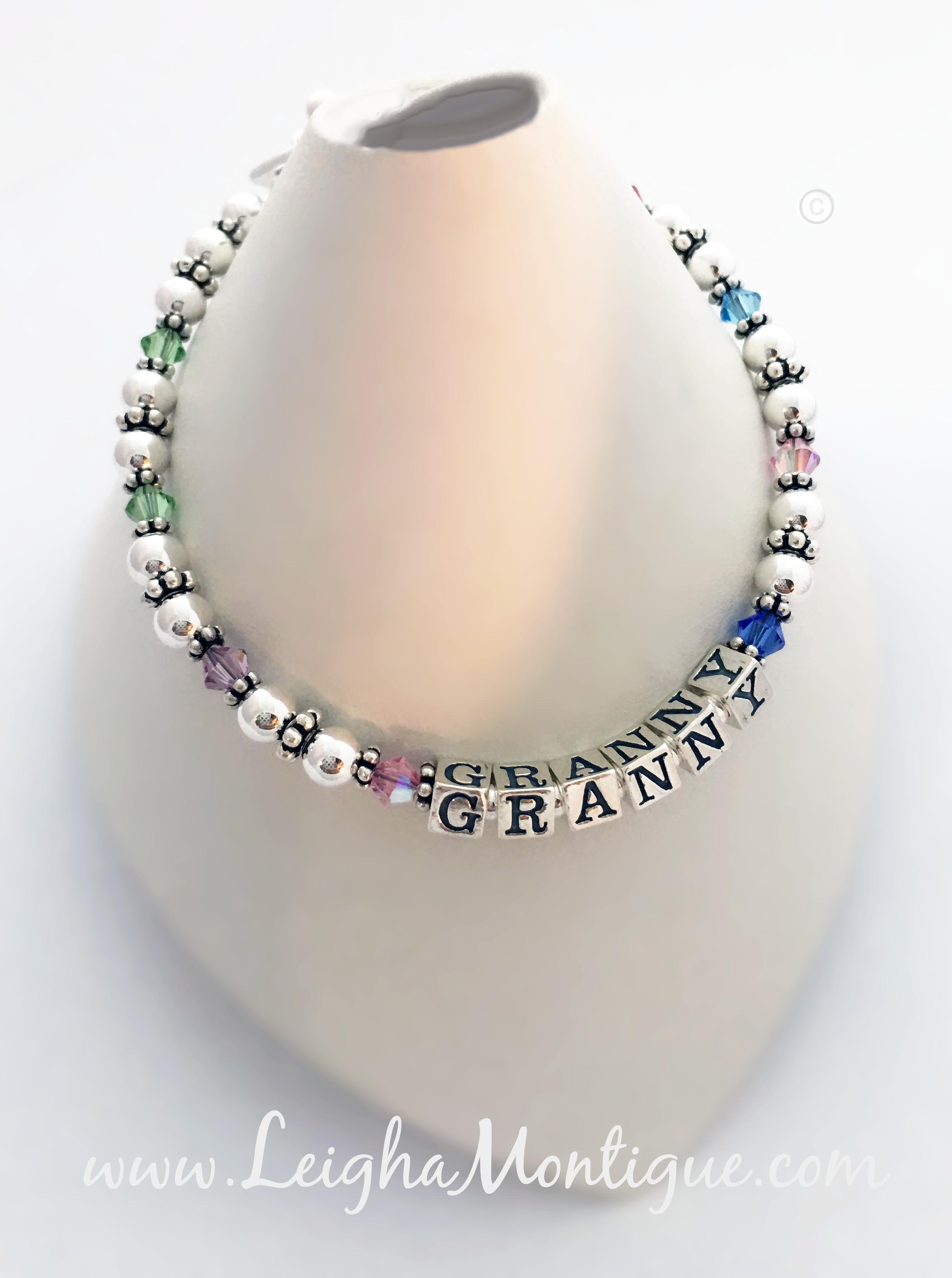 This birthstone bracelet says GRANNY with her 8 grandkids birthstone crystals by Swarovski. Enter: Aug Aug Jun Oct GRANNY Sep Oct Dec Nov