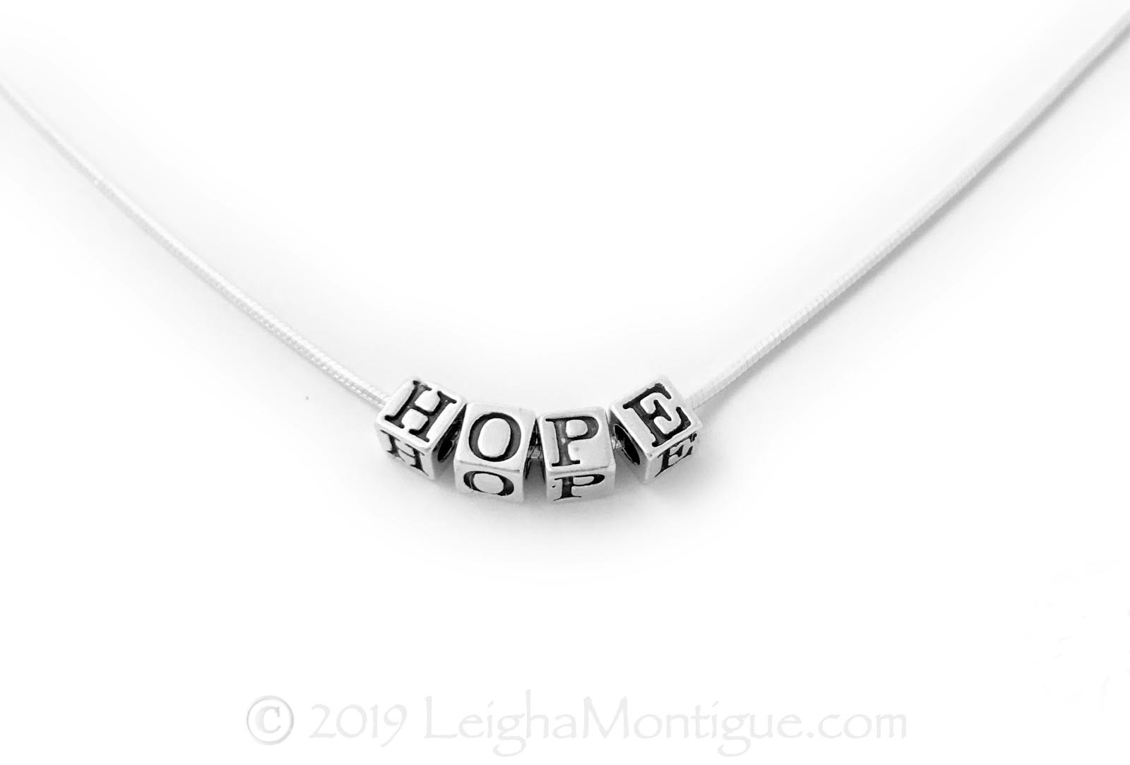 Sterling Silver Inspirational Necklace with HOPE - choose any message - JBL-N-Snake 4.5mm HOPE