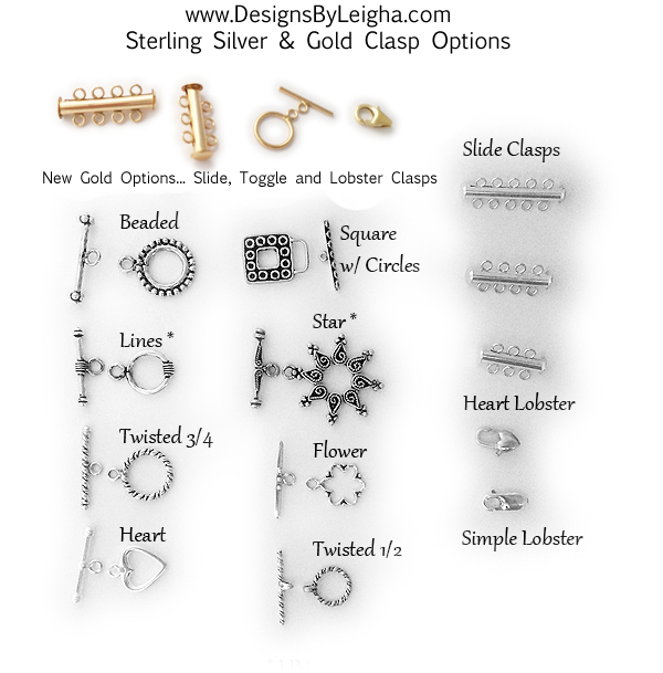 Sterling Silver & Gold Clasps - Lobster, Toggle and Slide Clasps