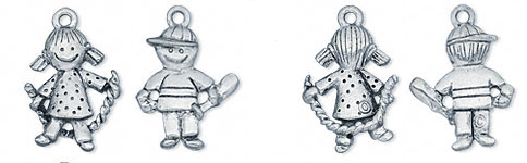 Boy and Girl Charms - Boy with a Bat and Girl with a Jump Rose Charms for a charm necklace or charm bracelet.