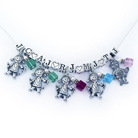 Boy Charm Necklace - JBL-CC-N1-2 boy charm and 2 girl charm