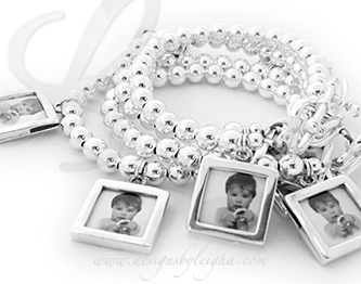 Picture Frame Charm Bracelet for Mom and 3 Daughters