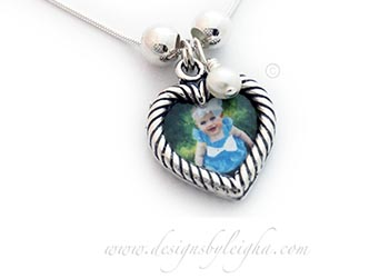 Heart Picture Frame Necklace with a Pearl Charm www.DesignsByLeigha.com