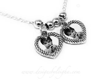 Sterling Silver Heart Picture Frame Charm Necklace for Valentine's Day www.DesignsByLeigha.com