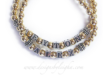 Leyton and Alex Gold Mothers Bracelet on www.DesignsByLeigha.com