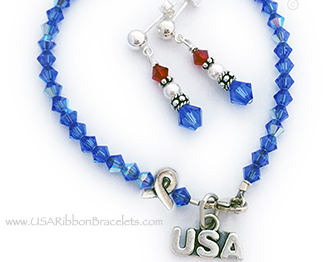 USA Ribbon Bracelet with a USA Charm, Ribbon Bead and Red White and Blue Earrings