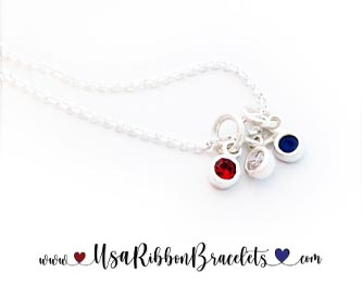 Red White and Blue Tiny Charm Necklace