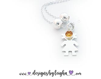 Little Girl Charm Necklaces with Birthstones