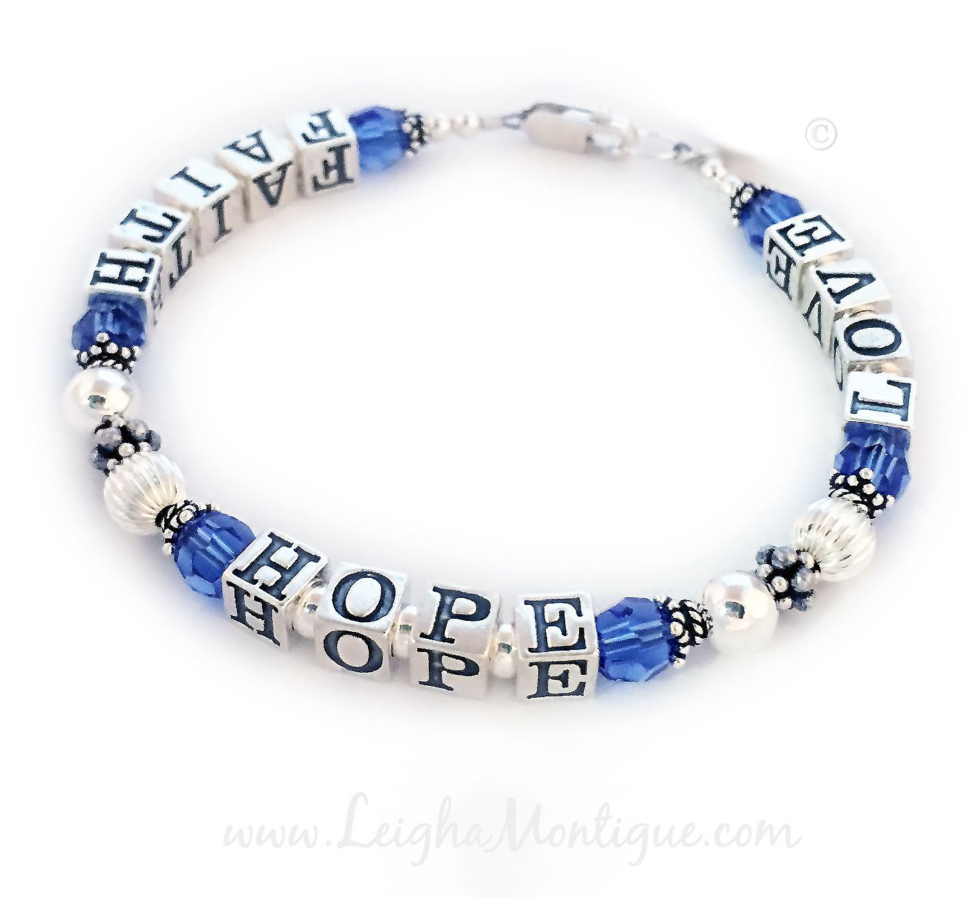 Faith Hope Love Bracelet with September Birthstones  This Faith Hope and Love Bracelet is shown with a lobster claw clasp, September Swarovski Crystals.