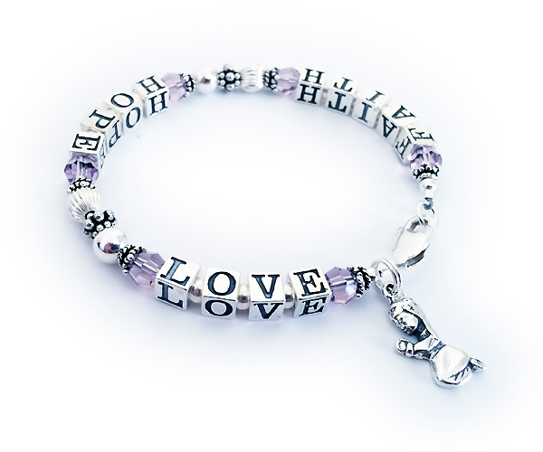Faith Hope Love Bracelet with June Birthstones  This Faith Hope and Love Bracelet is shown with a lobster claw clasp, June Swarovski Crystals and they added a Praying Girl charm.