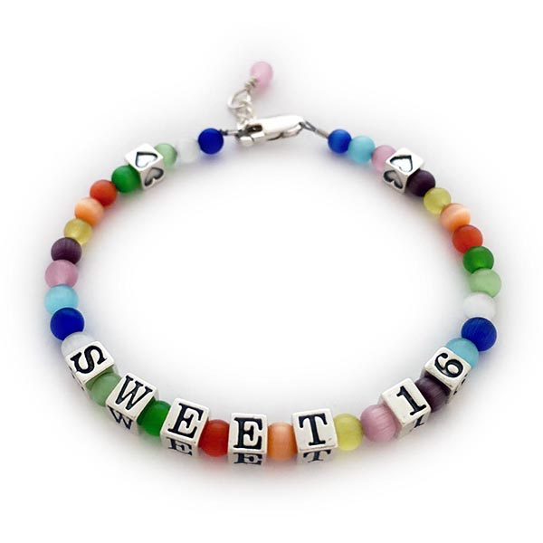 Sweet 16 Message Bracelet with Hearts and Dangle - JBL-Sweet15-MB7