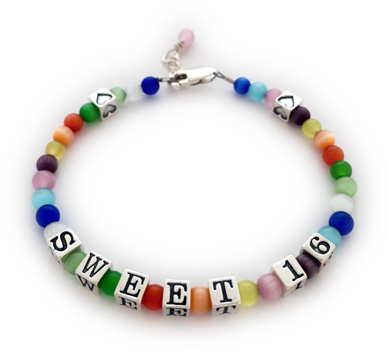 Colorful Sweet 16 Bracelet With A Message And Hearts Jbl Mb7