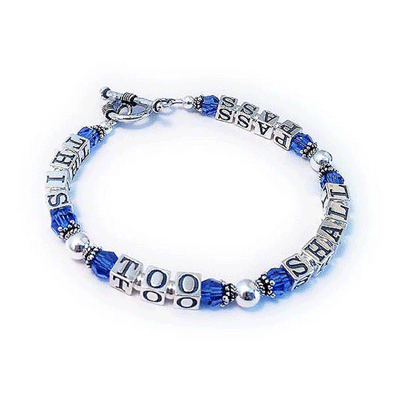 This Too Shall Pass Bracelet with September Birthstone Crystals and a toggle clasp.