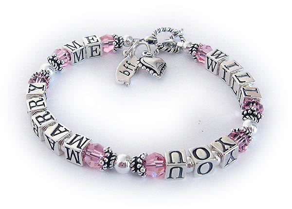 "JBL-MB-1S  Will You Marry Me Bracelet with Pink or October Birthstones and they added a BFF charm and a Beaded Heart Charm. This bracelet is shown with one of my free toggles - ""Twisted Toggle""."