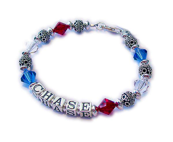 Military Mom Bracelet with red white and blue Swarovski crystals and her military sons name - USA-RWB1