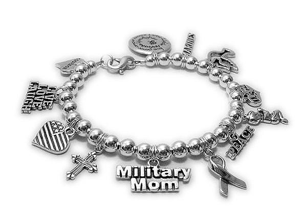 Military Mom Charm Bracelet - Sterling Silver Military Mom and Military Wife Charms