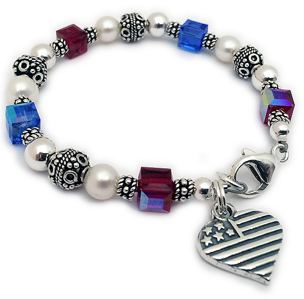 Red White & Blue Bracelet with a Heart Flag Charm - Size: 6 1/2""