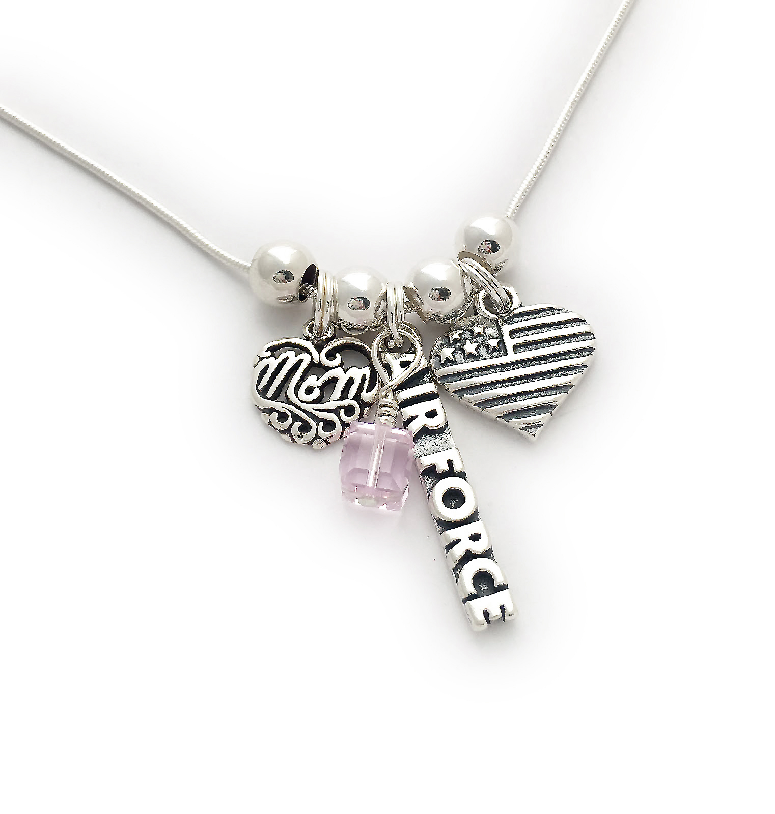 Item: JBL-USA-N8 Air Force Mom Charm Necklace shown with an add-on October Birthstone Charm.