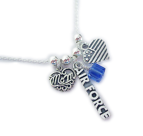 Air Force Mom Necklace with MOM Charm, Heart Flag Charm and a Birthstone Crystal
