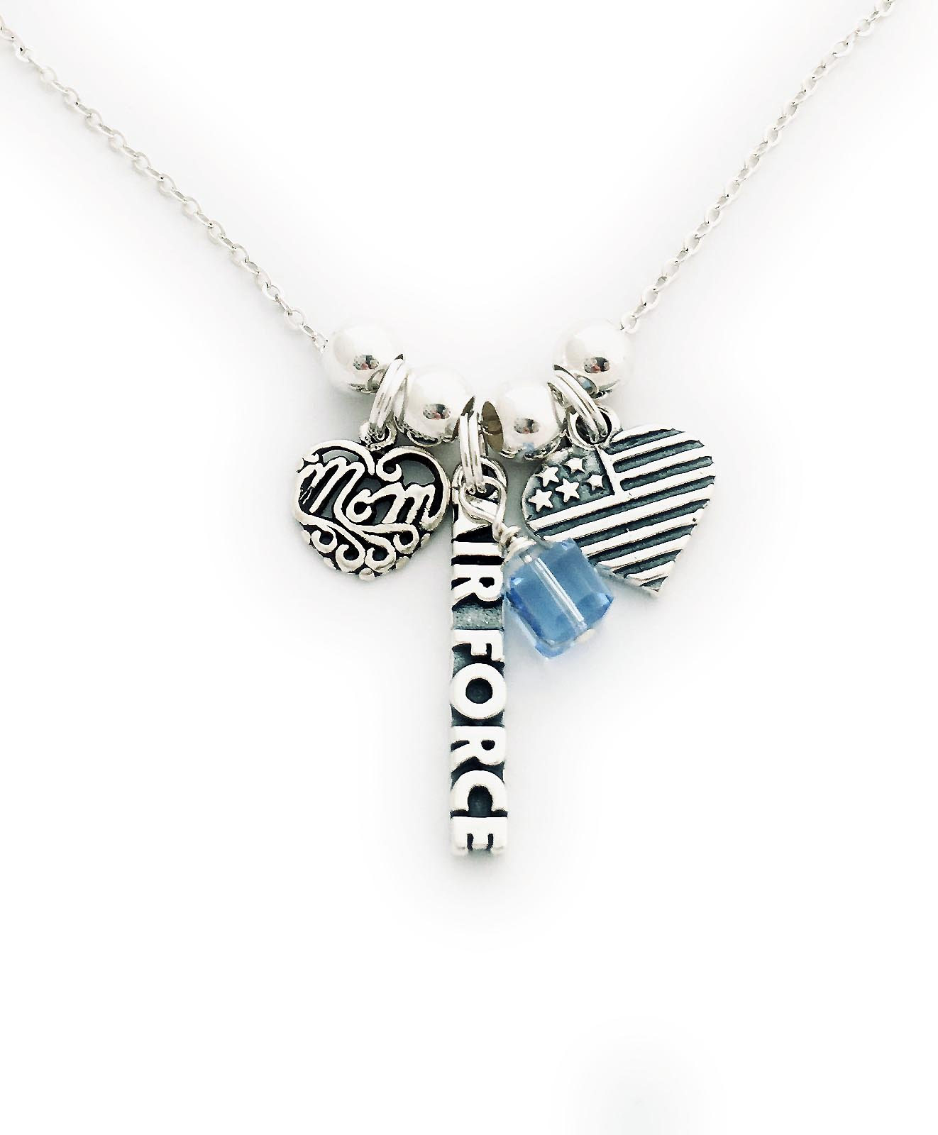 JBL-USA-N8 Air Force Mom Charm Necklace shown with an add-on December Birthstone Charm.