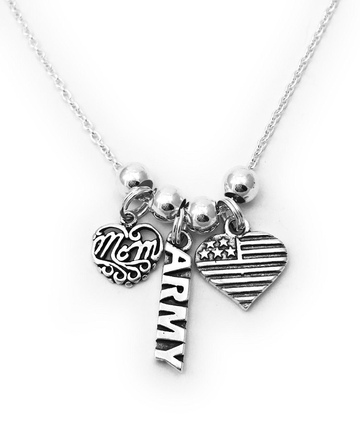 Sterling Silver Army Mom Necklace with MOM Charm, Heart Flag Charm