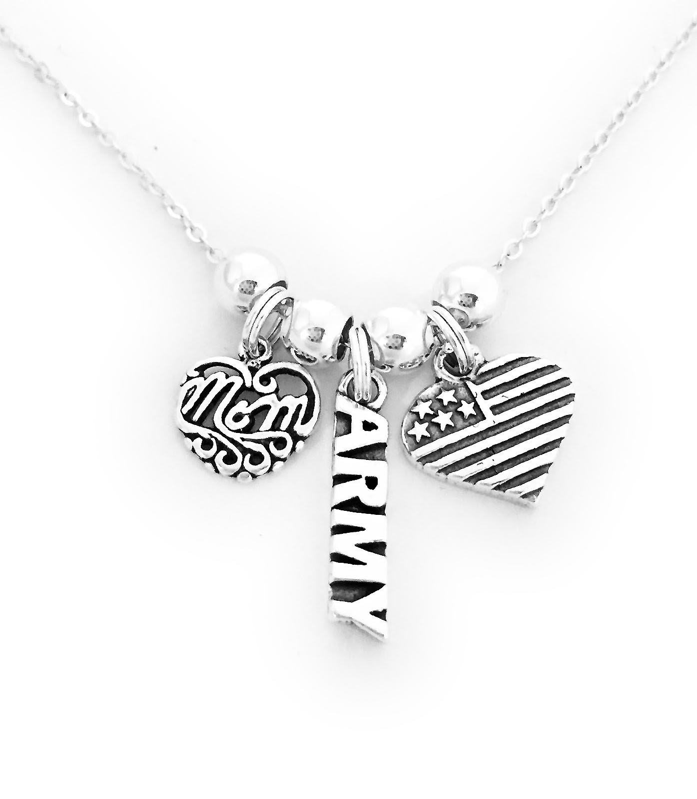 Army Mom Necklace with MOM Charm, Heart Flag Charm