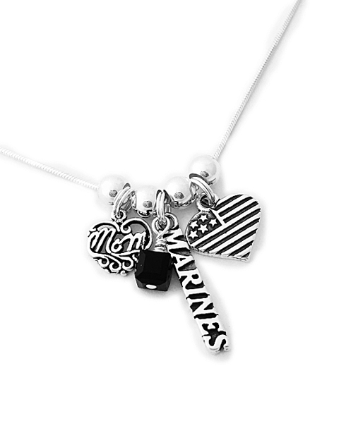 Marine Mom Necklace with MOM Charm, Heart Flag Charm and a Black Crystal