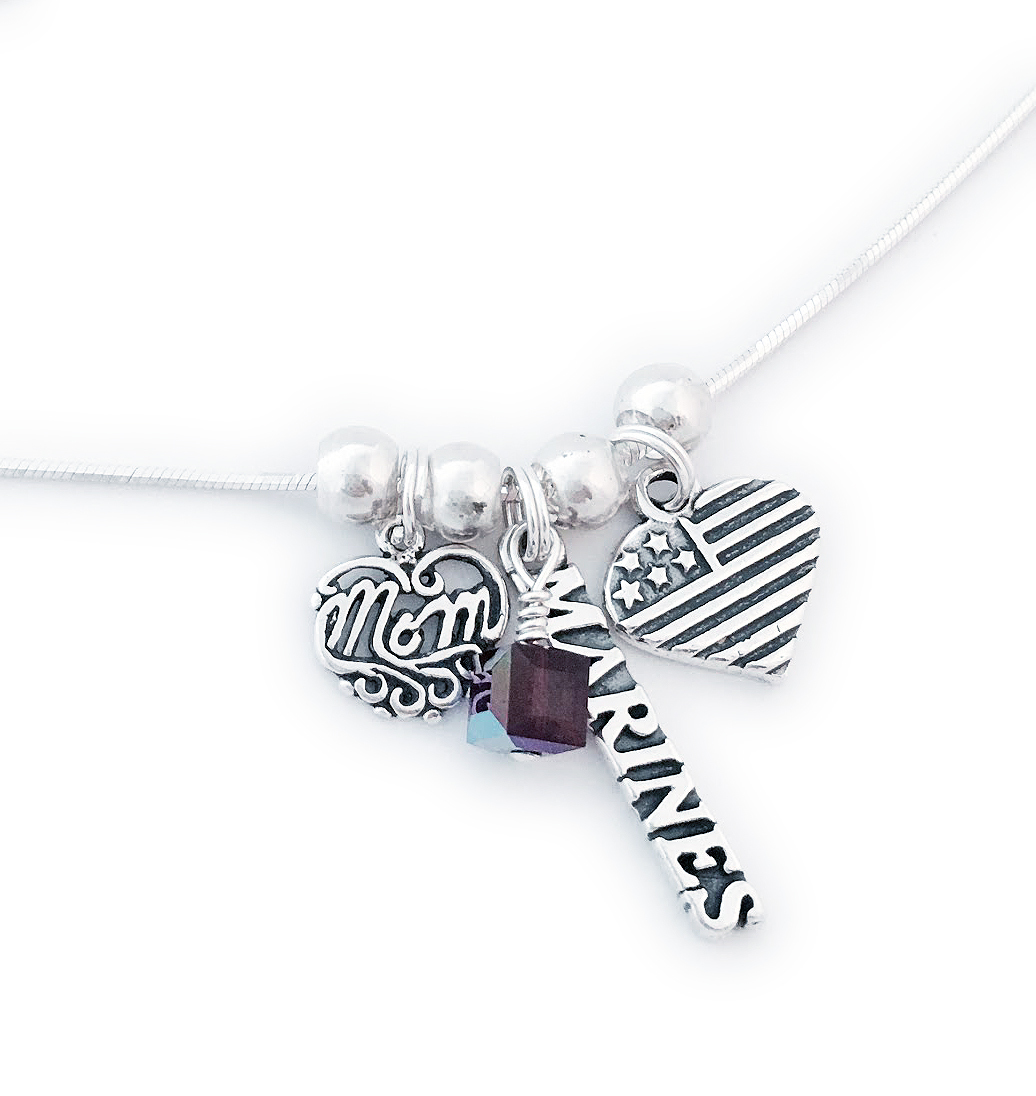 Item: JBL-USA-N8-Marines Marines Mom Charm Necklace shown with an add-on birthstone crystals (February).