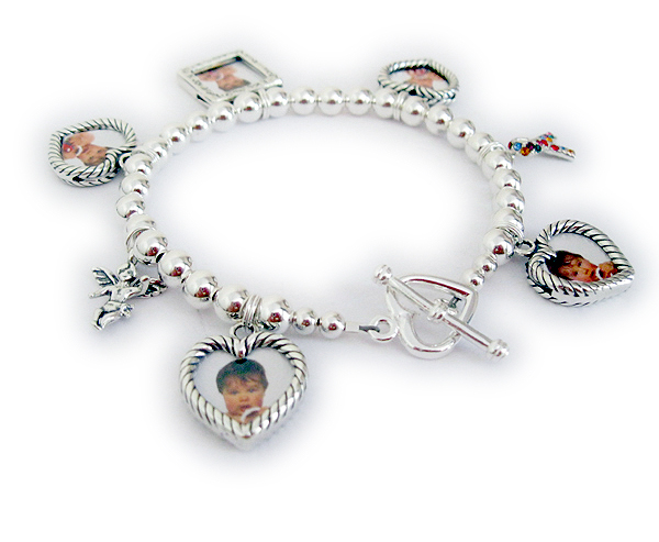 Photo Frame Charm Bracelet  JBL-CB10-build Order: 1-Square Picture Frame Charm, 4-Heart Picture Frame Charms, Angel with Wings, Autism Ribbon