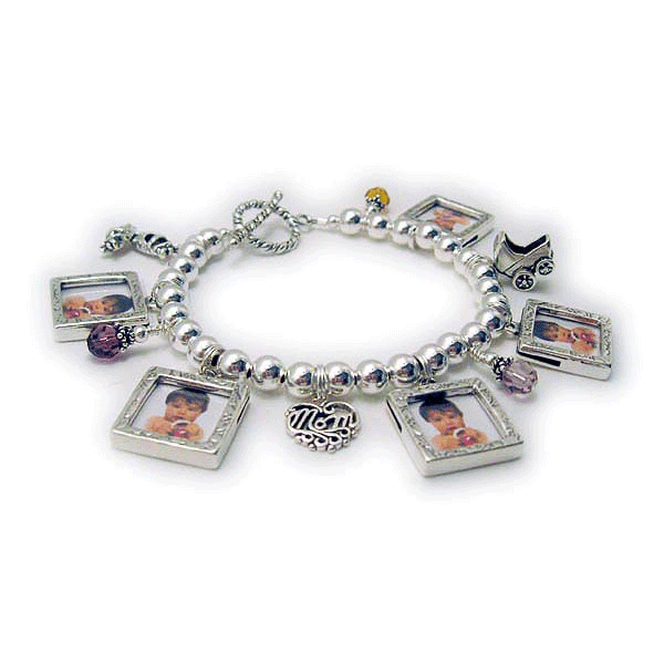 Mommy Photo Charm Bracelet with lots of charms