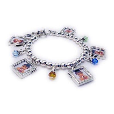 Photo Frame and Birthstone Charm Bracelet for Mommy and Grandma