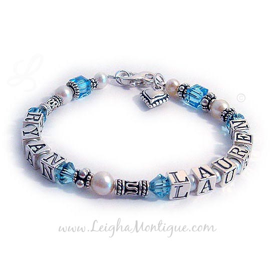 Ryan and Lauren Sterling silver, swarovski crystals and pearl mother birthstone bracelets.
