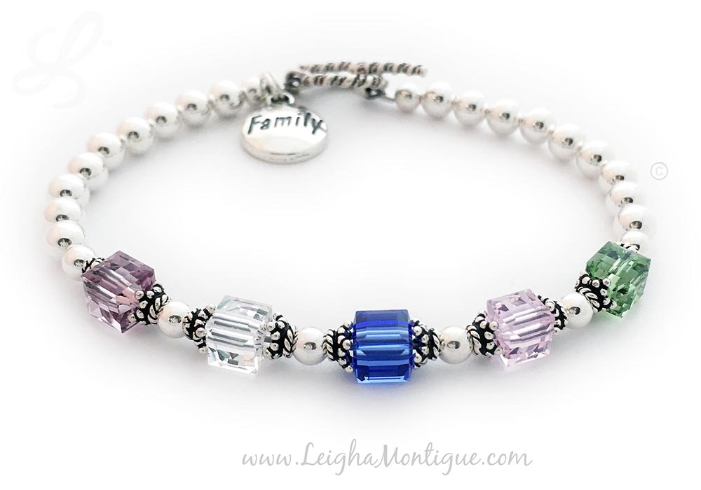 JBL-BB1-Square	1-String Bracelet with 5 Birthstones  Enter: Jun Apr Sep Oct Aug They picked a Twisted Toggle Clasp. This Birthstone Bracelet comes with a FAMILY charm. June or Alexandrite, April or Diamond, September or Sapphire, October or Opal, August or Peridot.
