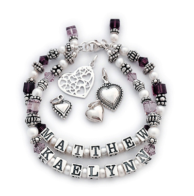 Matthew Kaelynn Sterling silver, swarovski crystals and pearl mother birthstone bracelets.