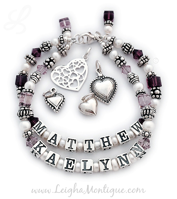 JBL-SS5-2	String Bracelet Order: MATTHEW/Feb - KAELYNN/Jun and add 2 birthstone crystal dangles. This is a 2-string Mother Bracelet with Matthew and Kaelynn and their birthstones. If you perfer an all sterling bracelet order: MATTHEW/no crystals - KAELYNN/no crystals.