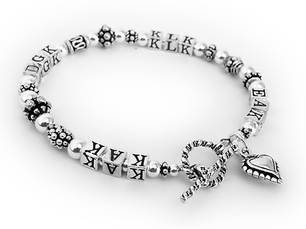 Initial Bracelet with 4 sets of Initials and a Beaded Heart Charm