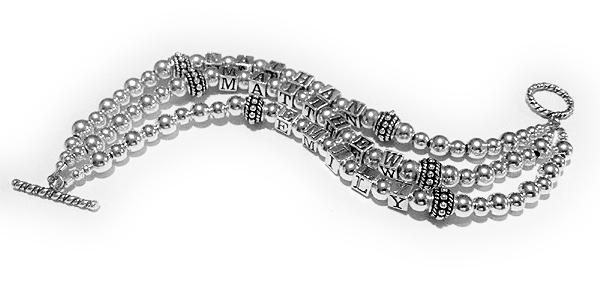 JBL-S2-3	String Bracelet Ethan, Matthew and Emily 3-string Grandmother Bracelet with a Twisted Toggle Clasp.