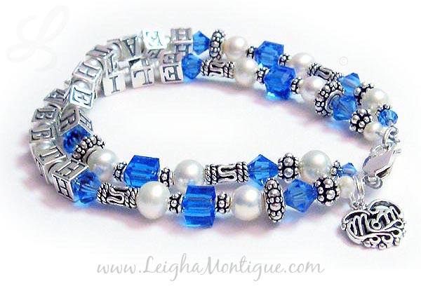 JBL-SS5-2	String Bracelet Order: HEATHER/Sep - ELIZABETH/Sep and add a Filigree MOM charm. Heather and Elizabeth Birthstone Mothers Bracelet with an add-on Filigree Mom Charm.