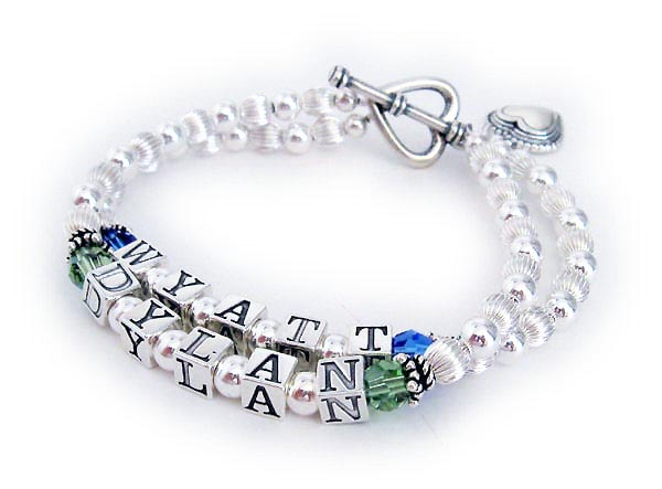 JBL-S1-2	String Bracelet Wyatt & Dylan Birthstone Mothers Bracelet with an upgraded Heart Toggle Clasp and a Beaded Heart Charm.