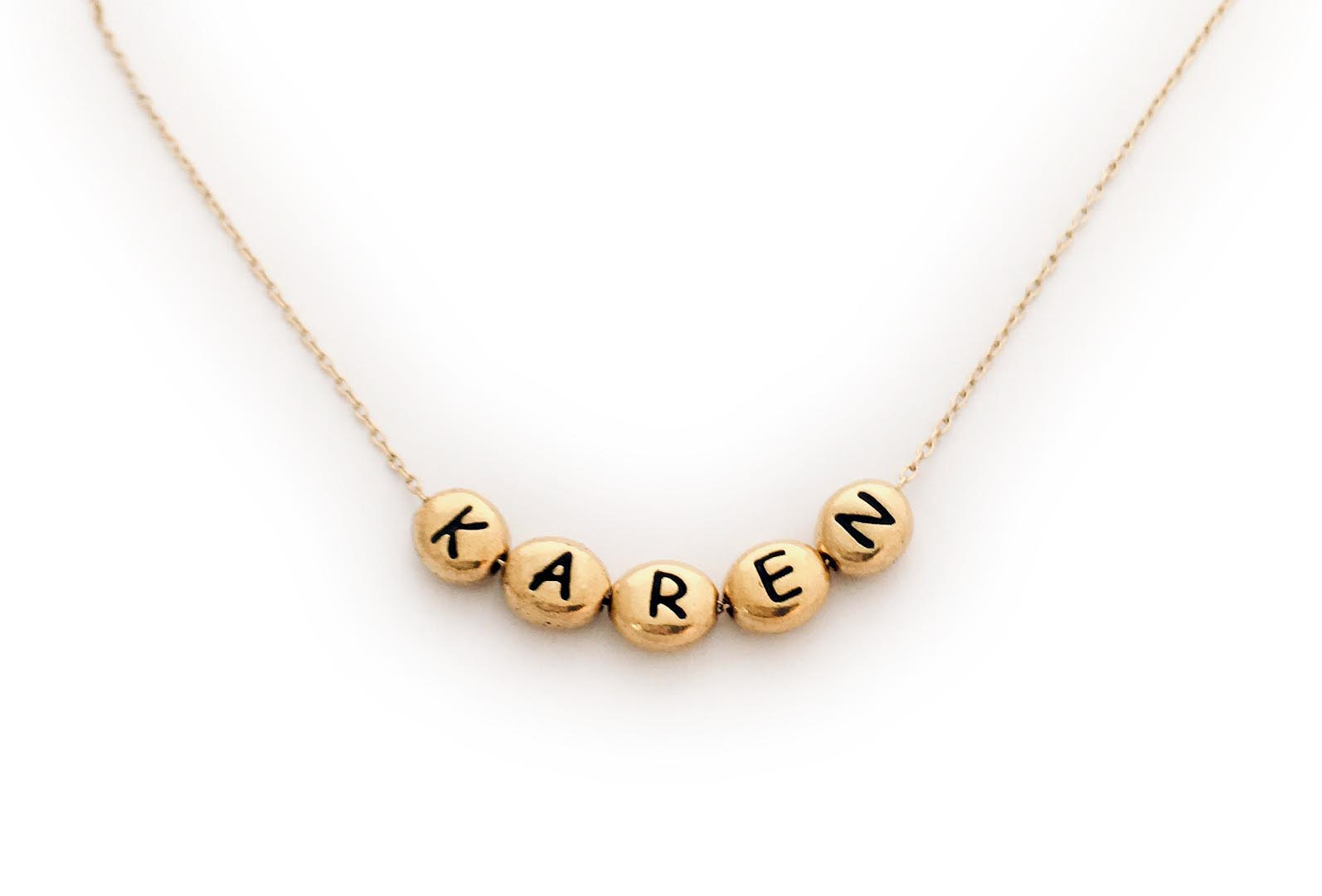 Gold Block Name Necklace with Gold Block Letters on a Gold Chain - JBL-N-Gold-Blocks - KAREN and 5 gold block letters
