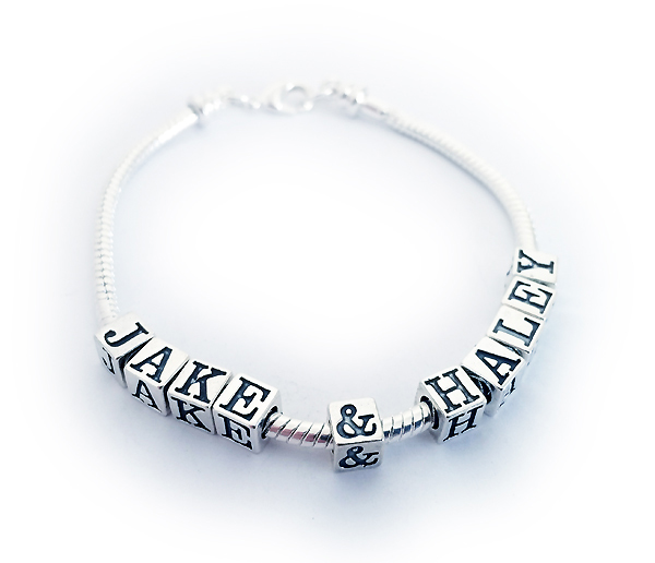 JBL-Pand1  Name(s): JACK & HALEY shown. 10 letters/numbers/symbols, 0 spacer beads