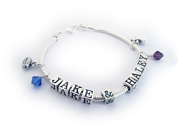 JBL-Pandora1 Name(s): JACK & HALEY shown. 10 letters/numbers/symbols, 0 spacer beads, 2 charms (football and megaphone), 2 birthstone crystal dangles