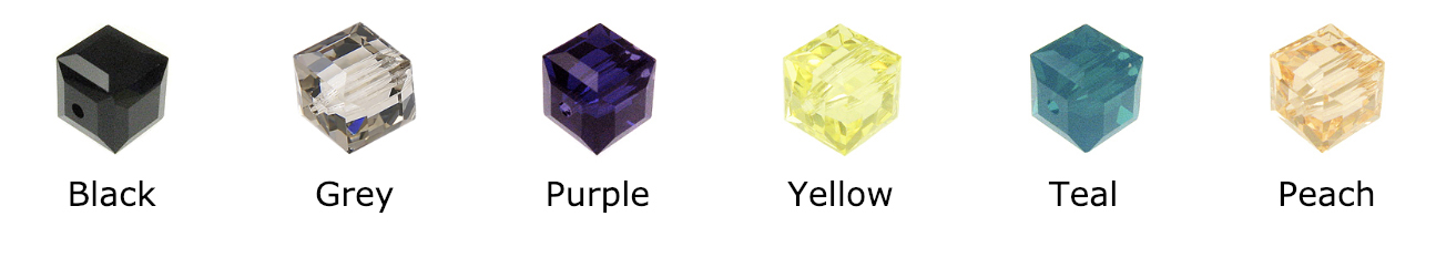 Swarovski Crystal Square or Cubes - Colors include: Black, Jet, grey, purple, yellow, teal, peach